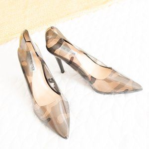 Steve Madden • Clear Gray Camo Vegas Pointed Heels